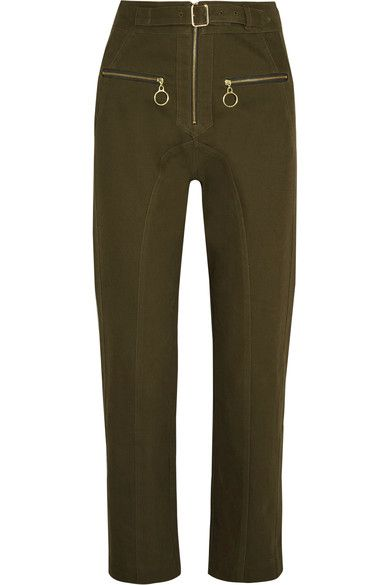 Self-Portrait - Belted Cotton-blend Twill Straight-leg Pants - Army green - UK14