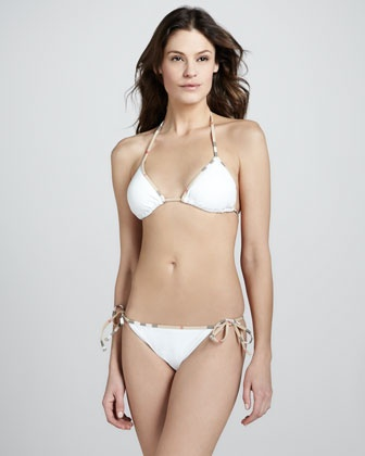 Check-Trim String Bikini, White by Burberry. Perfect ...