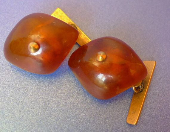 Vintage Old USSR Soviet Men Jewelry Baltic Amber by ForCollecting