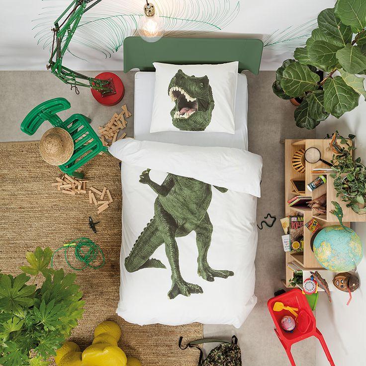 Dino dekbedovertrek (1p) - SNURK - https://www.livingdesign.be/nl/merken/snurk-beddengoed/kids