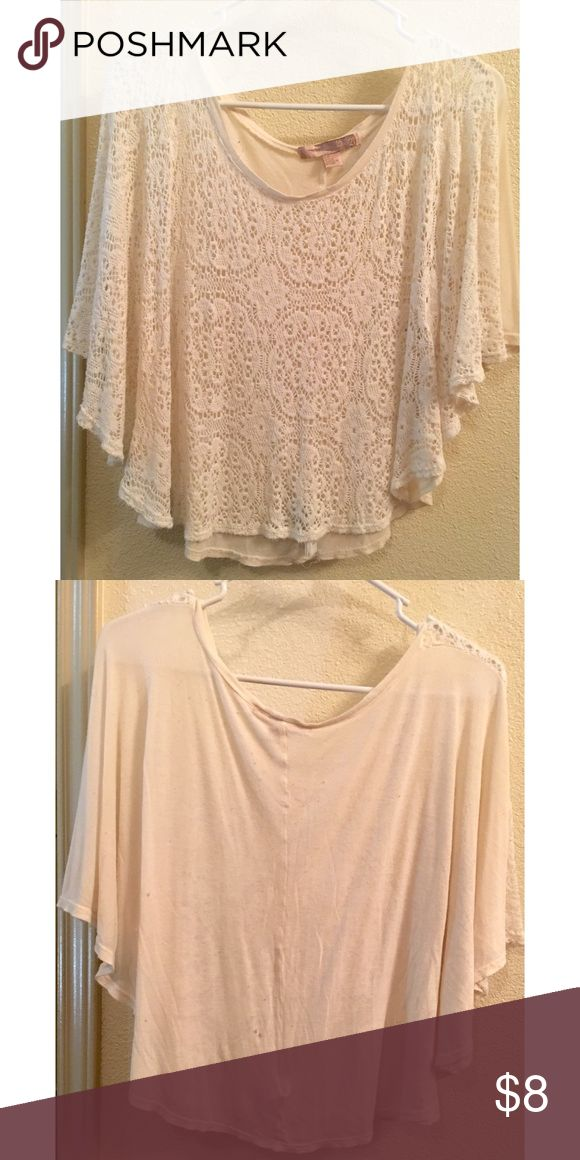 Lace batwing top Sheer front floral lace, sleeves are batwing. One small hole on back from washer. Forever 21 Tops Blouses
