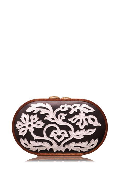 Floral Leather Applique Oval Bag by Katrin Langer for Preorder on Moda Operandi
