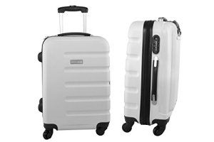 Valise trolley rigide PIERRE CARDIN blanc bagages à main ryanair S208