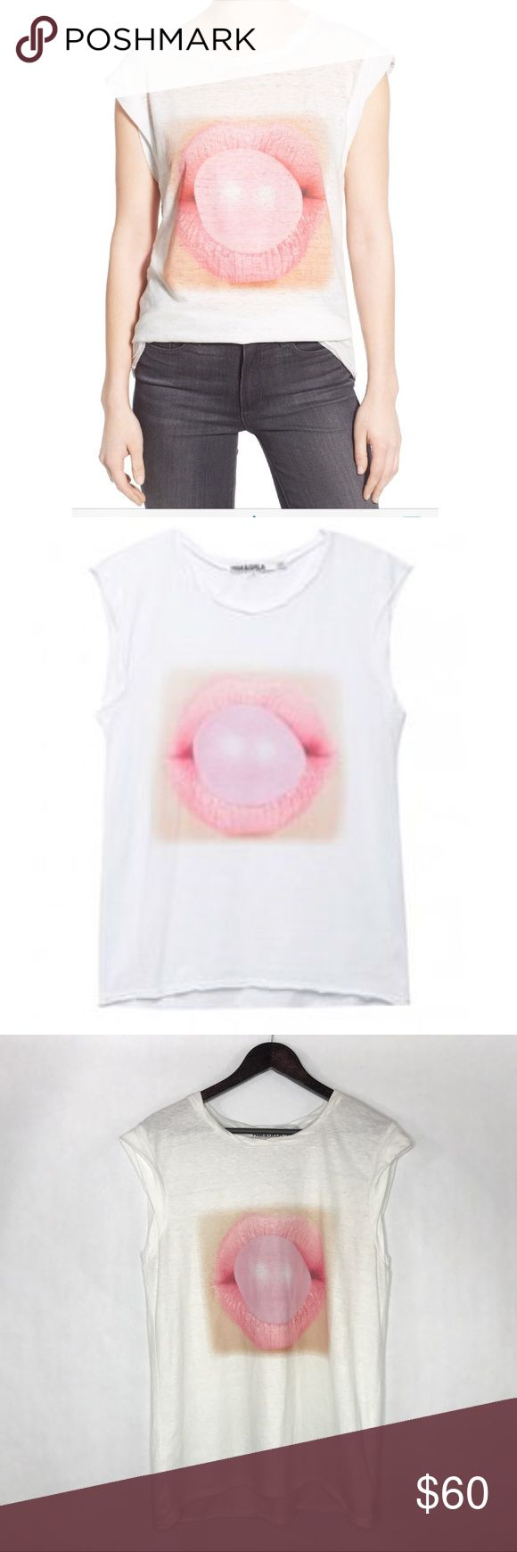 Pam & Gela Frankie Tee - Bubblegum Cute stylish and trendy white graphic t. Pam & Gela Tops