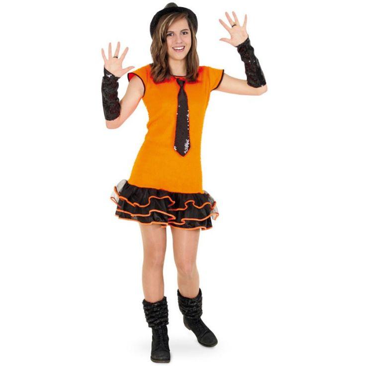 Neon Rüschen Kleid orange für Kinder
