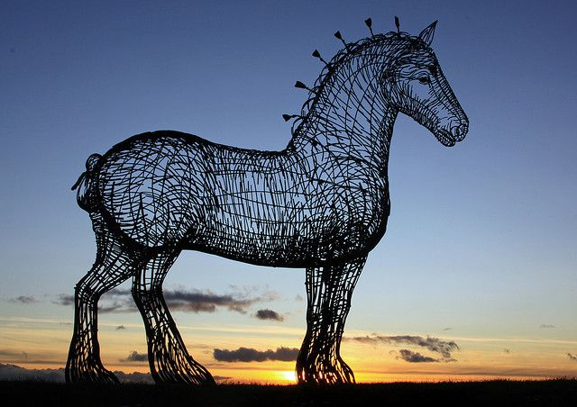 Glasgow's heavy horse sculpture just off the west bound M8 motorway, Scotland by David May