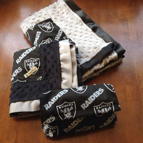 Oakland Raiders baby blanket set  ready to ship. by HoneyBunsUSA, $45.00