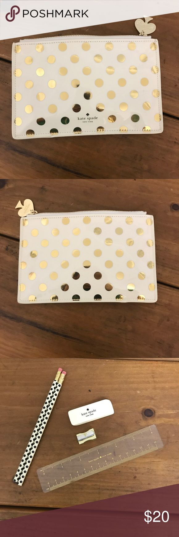 Kate spade pencil pouch Cute kate spade pencil pouch includes pencils, eraser, pencil sharpener, and rule inside! kate spade Accessories