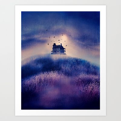 Lone house on blue and purple hill art.  No one goes out... by Viviana Gonzalez.  #artprint