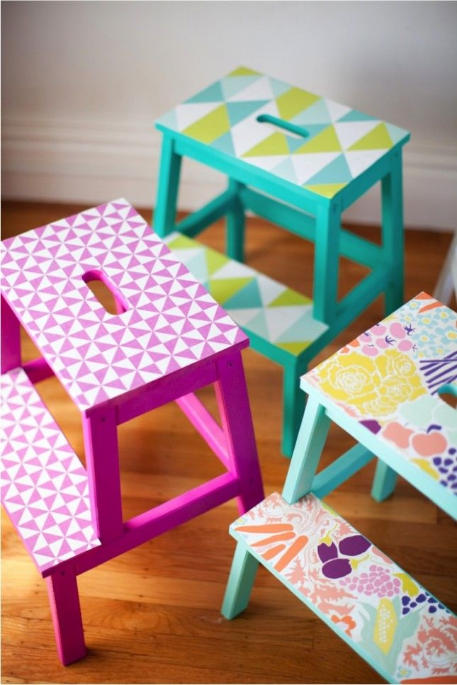 Bring some colour to your BEKVÄM step stool with a little paint and some wallpaper.