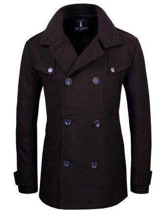 nice Mens Stylish Fashion Classic Wool Double Breasted Pea Coat - For Sale
