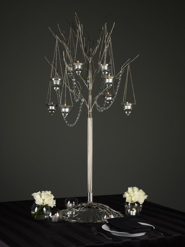 silver tree with hanging lanterns and crystal strand centerpiece #weddingcenterpiece #galaball #galaballcenterpiece #winterwonderland #themecentepiece  #tablescapes #centerpieces #decoritevents www.decorit.com.au (7)