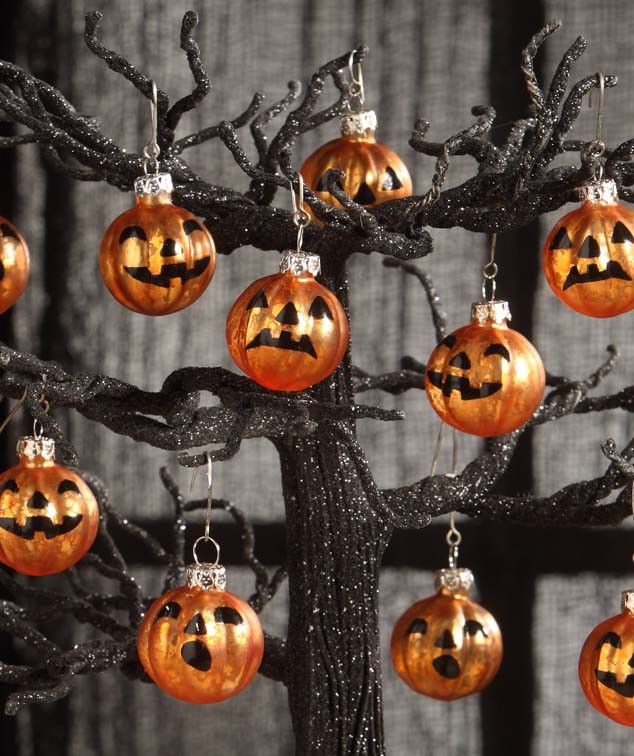 bethany lowe jack o lantern pumpkin mini glass ornaments halloween - Halloween Tree Decorations