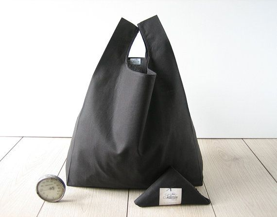 black shopping bag / minimal man tote bag / от AtelierSettembre