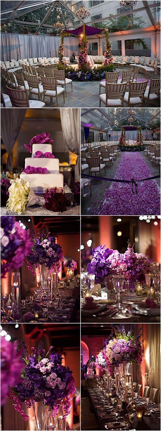 Featured Photographer: Bryan Blanken; elegant purple wedding reception and ceremony details