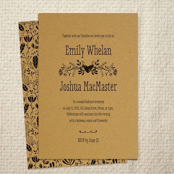 DIY Kraft Paper Wedding Invitation Woodland By AmyAdamsPrintables, $25.00