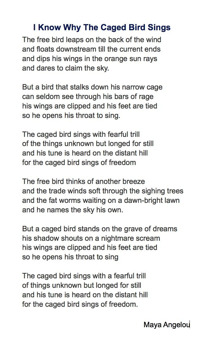 Maya Angelou's poem can take another meaning than the one most people confer on it...  And birds are vertebrates