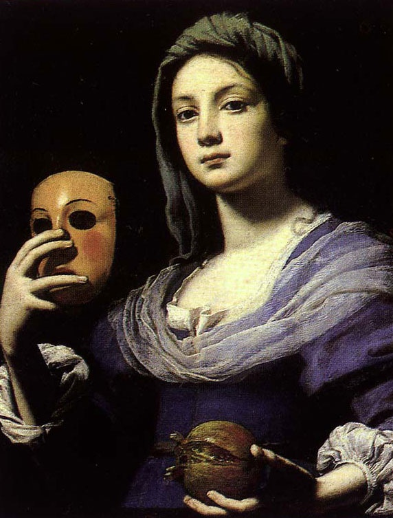 Lorenzo Lippi Painting of Commedia Actress.