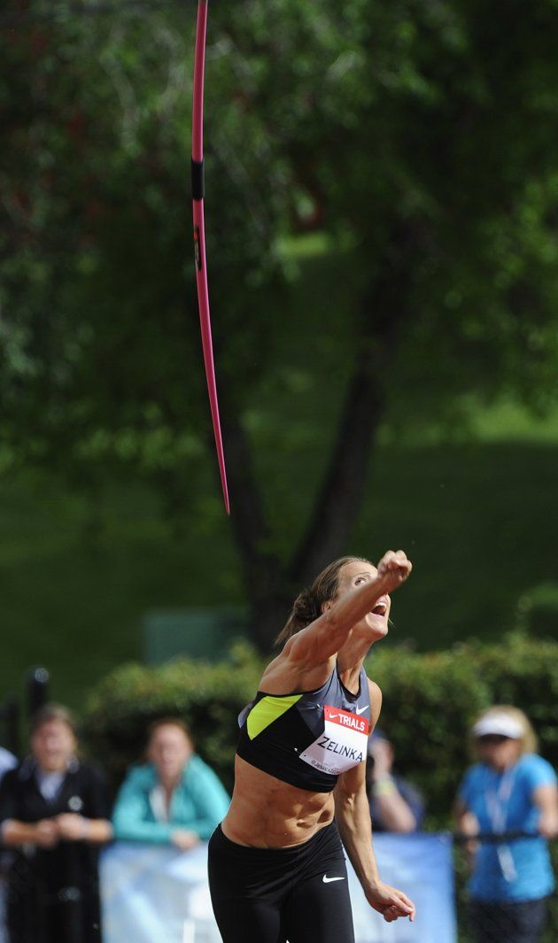 Zelinka throws a javelin in the women's heptathlon event at the Canadian Track and Field Olympic Trials in Calgary