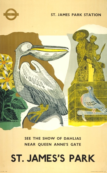 """""""Pelican, St. James's Park"""" poster by Edward Bawden for London Transport, 1936"""