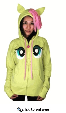 My Little Pony Fluttershy Pegasus Face Juniors Butter Yellow Costume Hoodie with Mane and Wings