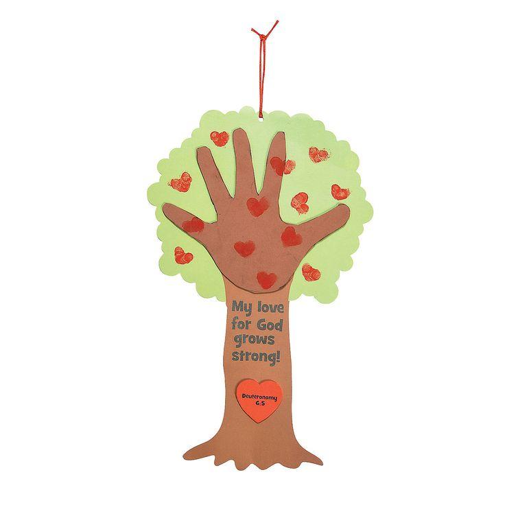 Religious valentine tree thumbprint poem craft kit m for Children s christian crafts