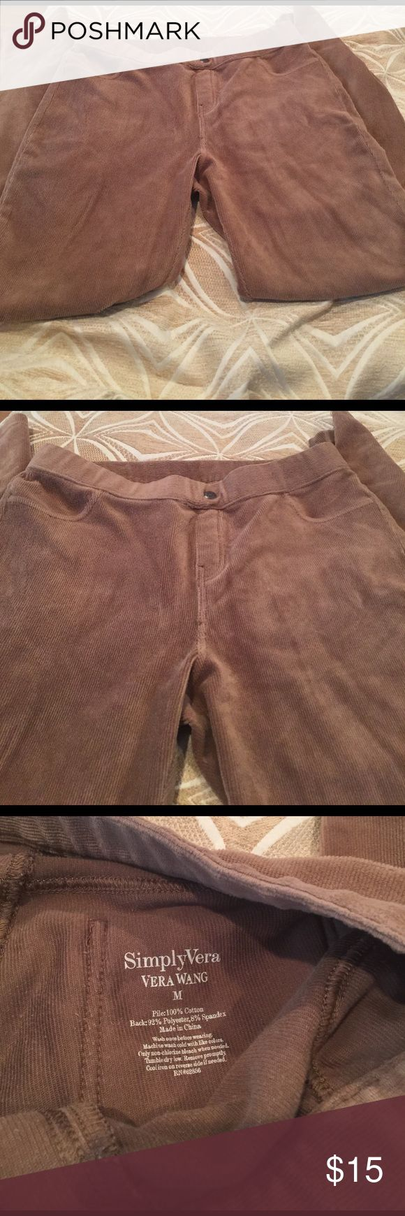 Vera Wang legging corduroy med 100% cotton Simply vera vera Wang corduroy leggings medium 100% cotton brown Simply Vera Vera Wang Pants Leggings