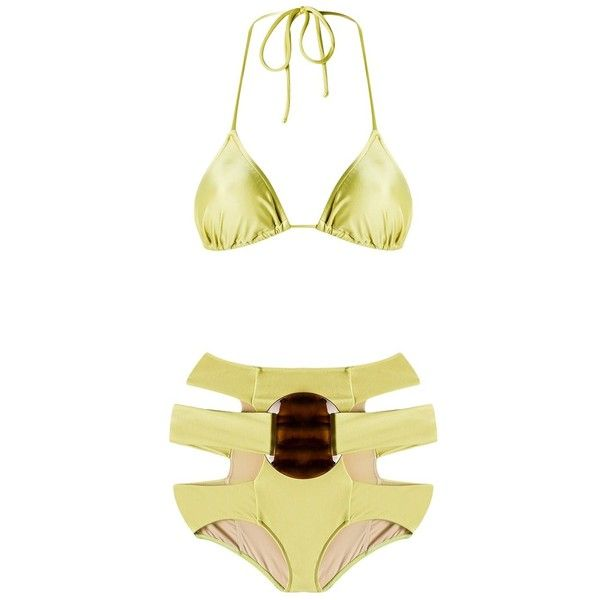 Adriana Degreas triangle bikini set ($223) ❤ liked on Polyvore featuring swimwear, bikinis, green, triangle bikini, cut-out bikinis, green bikinis swimwear, cut-out swimwear and green bikini