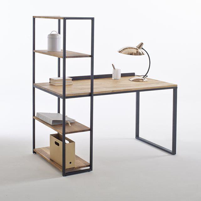 Image Hiba Solid Oak and Metal Desk-Shelving Unit La Redoute Interieurs