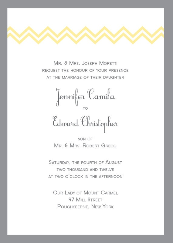 Yellow and Gray Chevron Wedding Invitation by CrownjulzPrintStudio, $7.00
