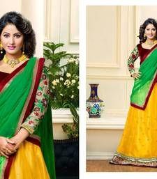 Buy Yellow embroidered net unstitched lehenga choli lehenga-choli online