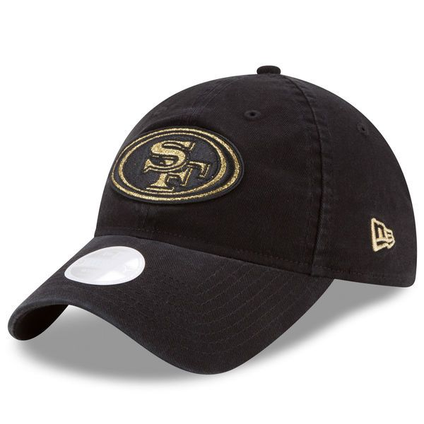 San Francisco 49ers New Era Women's Team Glisten 9TWENTY Adjustable Hat - Black - $21.99