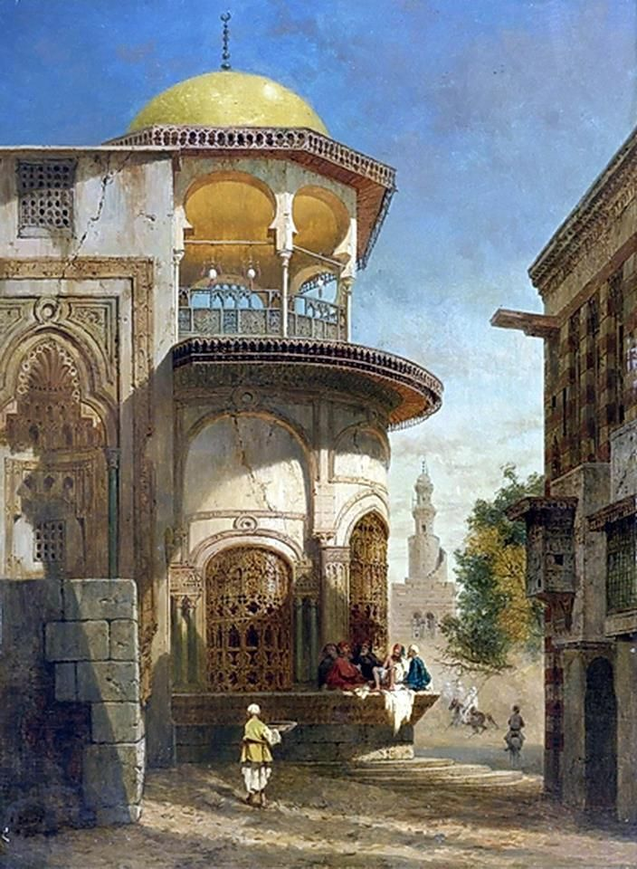 A street scene in old Cairo near the Ibn Tulun Mosque by Adrien Dauzats (French , 1804–1868) Oil On Panel , 25 1/8 by 18 3/4 in