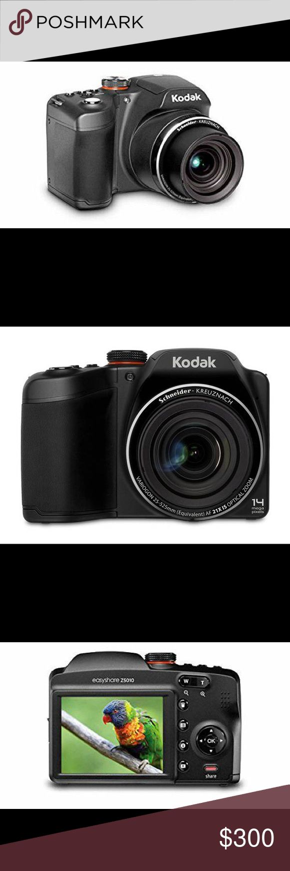 """Kodak EasyShare Z5010 Digital Camera- professional Gently used Kodak EasyShare Z5010 Digital Camera with 21x Optical Zoom in color BLACK.  - 14 megapixels -SCHNEIDER-KREUZNACH, 21X Optical Zoom with Optical Image Stabilization -25mm Wide Angle Lens - 3"""" Bright LCD -Kodak's Smart Capture Technology  I will include: -travel case -rechargeable batteries -rechargeable battery charger -protective lens cover -one memory card ($600 value!)   selling b/c I just purchased a new camera! I am pretty…"""