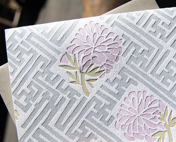 Old Lattice Letterpress Card set. wild ink press $15 [inspired by traditional Korean motifs]