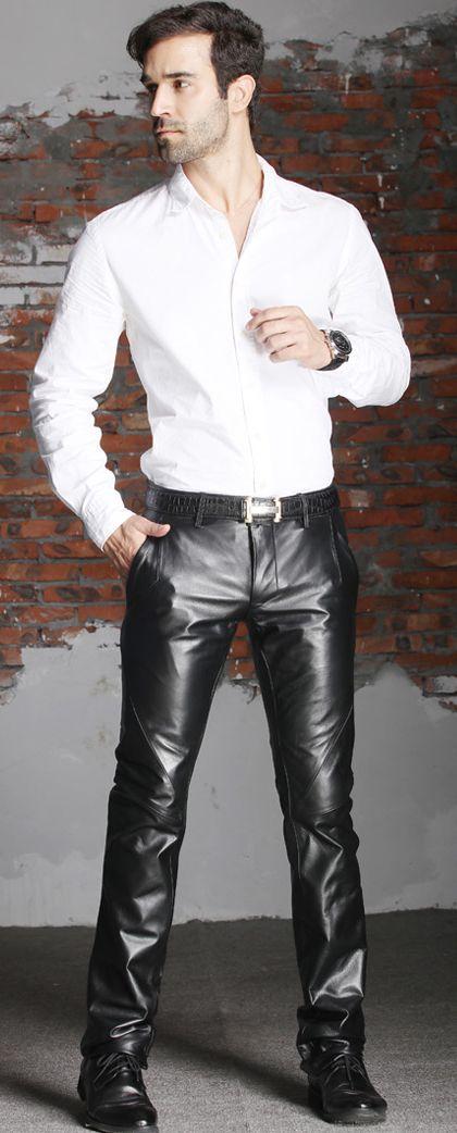 Mens Black Leather Shirt