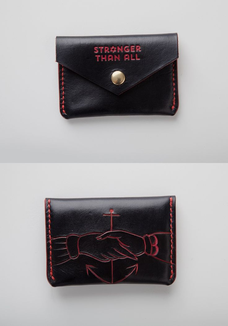 Black on Red Hand Tooled Custom Leather Snap Wallet by Stronger Than All