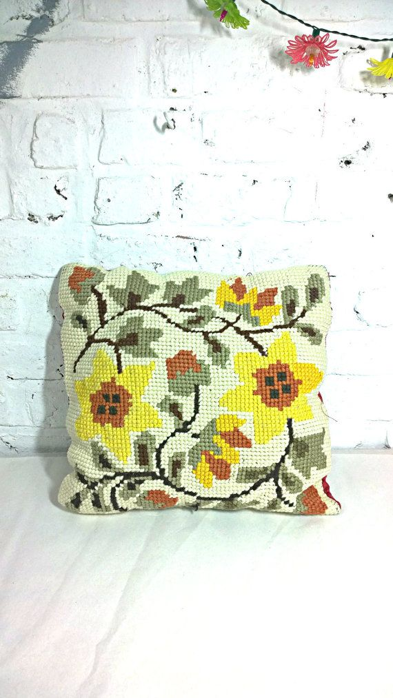 Vintage french wool pillow - cushion