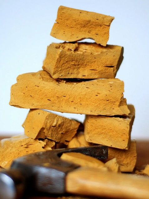 """Yellow Man--This crisp, honeycombed toffee, which was a treat at Irish fairs, is seen less often today. It still survives, however, as a """"Crunchie"""" bar in Irish candy shops, a crisp golden candy bar enrobed in dark chocolate"""