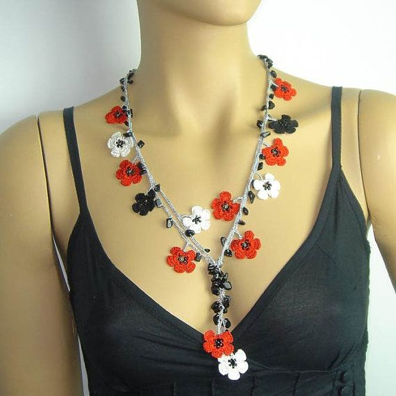 NEW Spring 2013 Crocheted necklace oya flower with onyx stones red black white