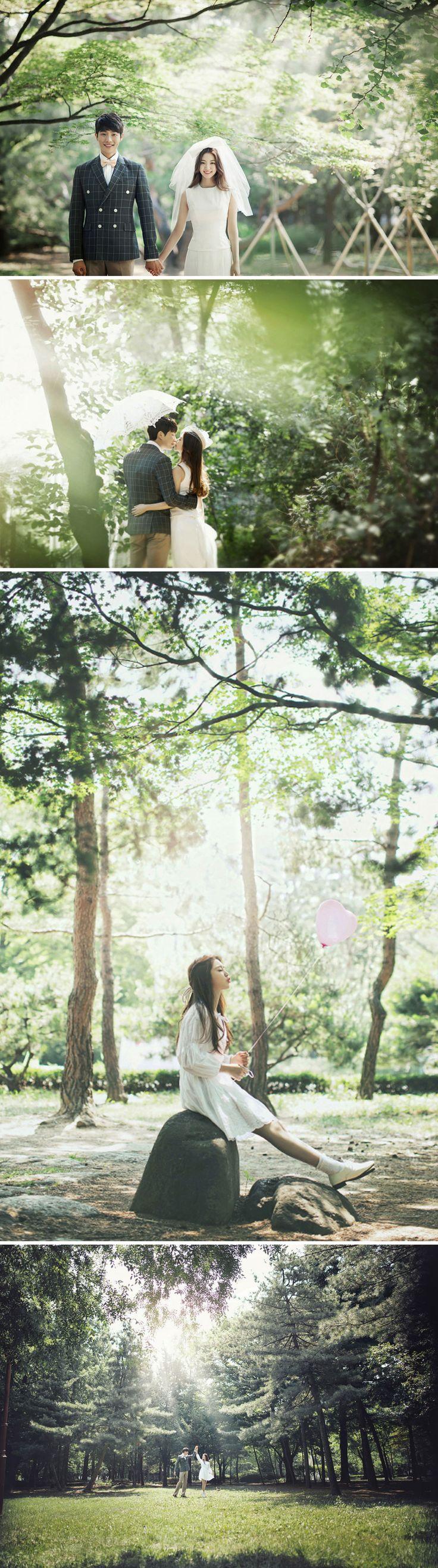 Korea outdoor pre-wedding photoshoot! Love the lush greenery!                                                                                                                                                                                 More