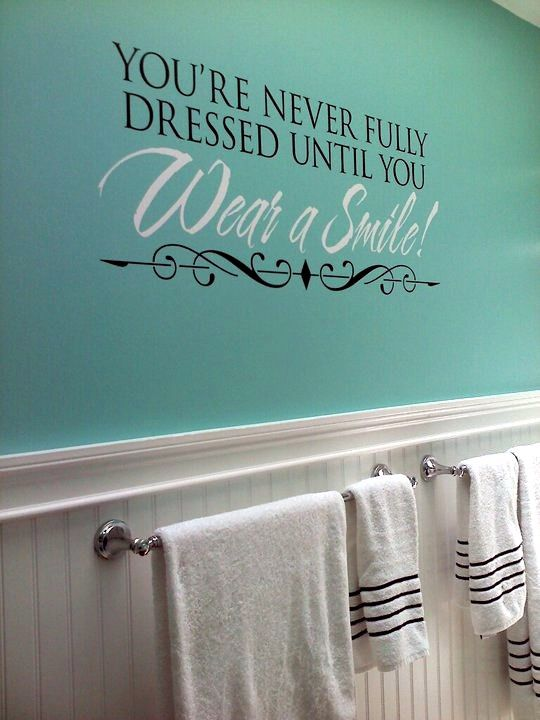 Updated our bathroom with this fun wall quote and tiffany for Bathroom wall decor quotes