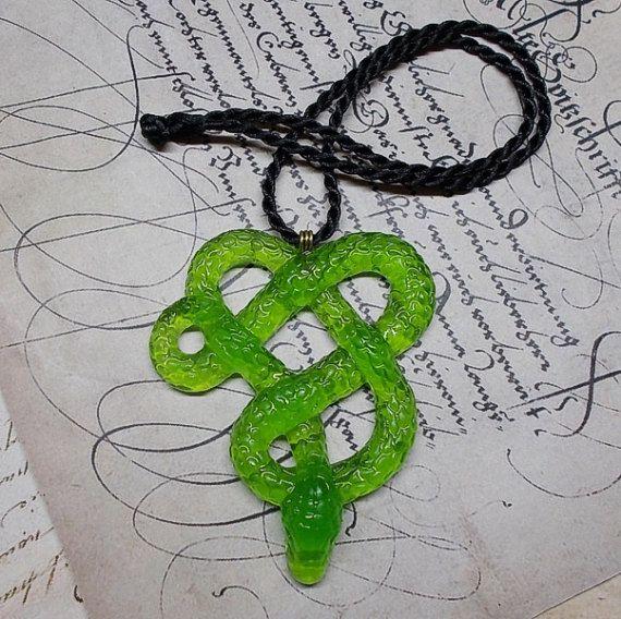 """Resin pendant """"Green Snake""""."""