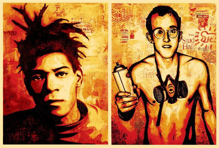 obey: basquiat and keith haring: Cartoon Characters, Fairey Portraits, Fairey Créateur, Basquiat Haring, Keith Haring, Beautiful Art, Jean Michel Basquiat, Shepard Fairey