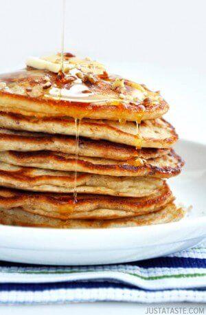 Banana Nut Pancakes from justataste.com #recipe