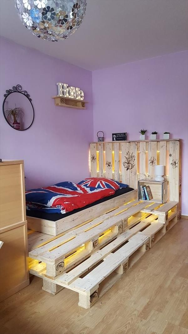 simple and gorgeous pallet bed with lighting ideas