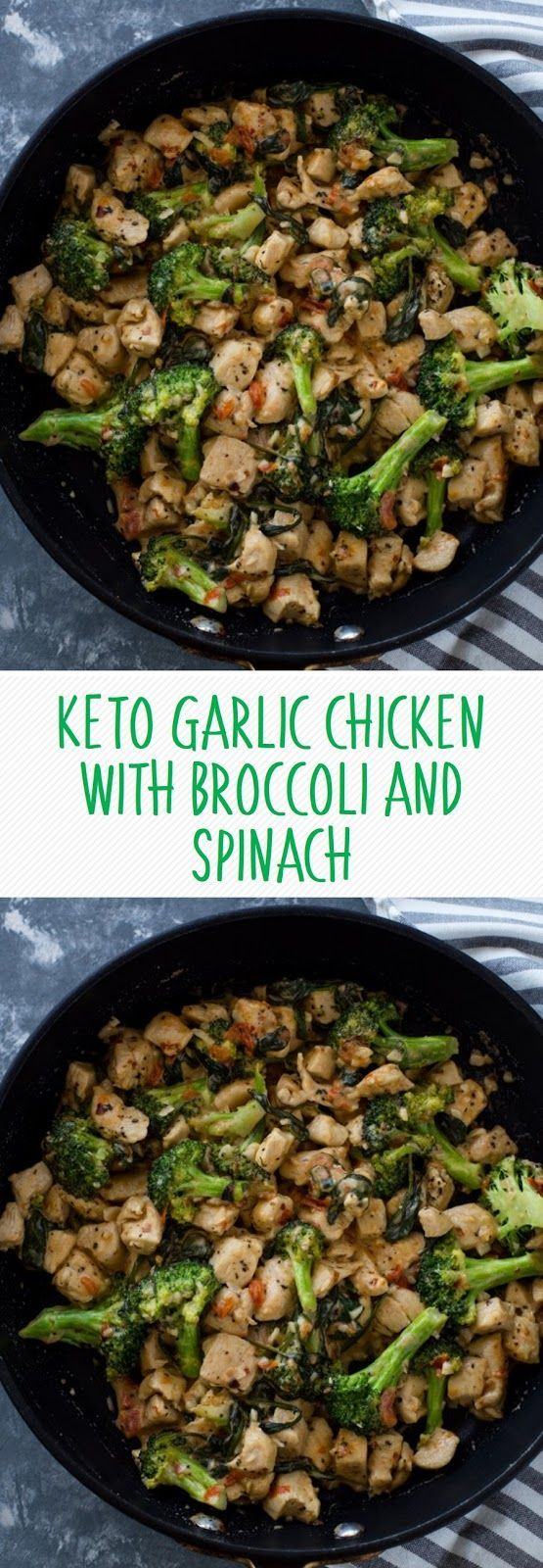 KETO GARLIC CHICKEN WITH BROCCOLI AND SPINACH #chickenfoodrecipes #ketogenic