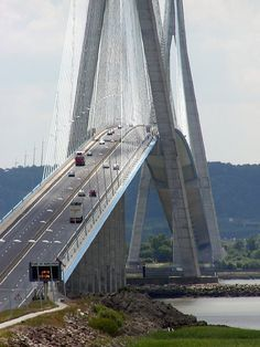 Pont de Normandie, France 2008 Another shot of, Pont de Normandie (Bridge of Normandy), or as our family know it, the scary bridge, at the mouth of the river Seine, Normandy, France 2008.