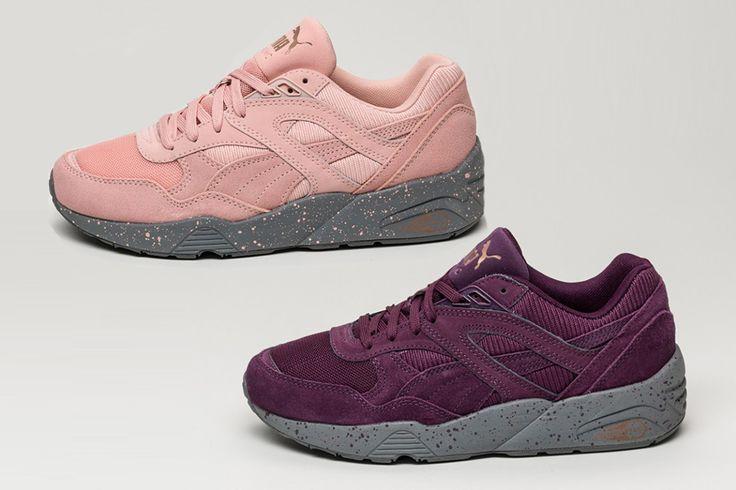 """Puma présente ce nouveau pack """"Winterized"""" pour femmes qui inclut trois coloris: Italian Plum, Coral Cloud Pink et Periscope. Les trois modèles ont un upper en mesh, daim et textile complété par une semelle grise à effet d'éclaboussure de peinture. …"""