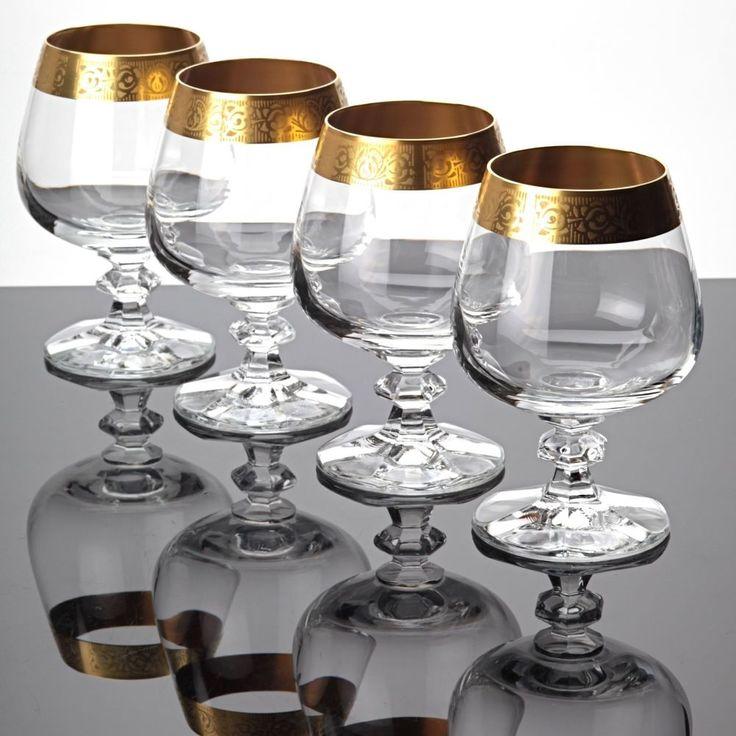 4 Cognacgläser Cognacschwenker Gläser Kristall Goldrand Goldbordüre Vintage Glas